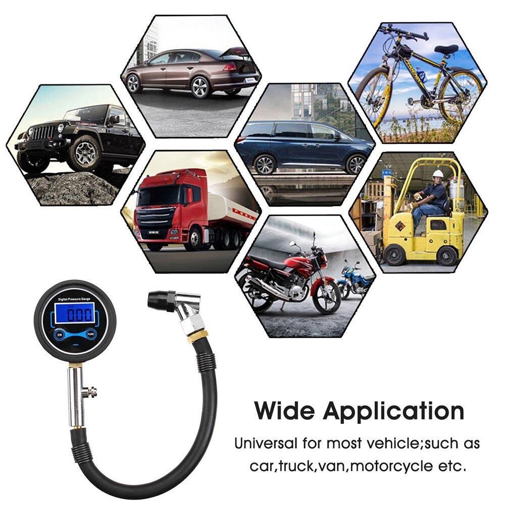 Digital LCD Tyre Tire Air Pump Pressure Gauge Tester For 0-200PSI Car Motorcycle