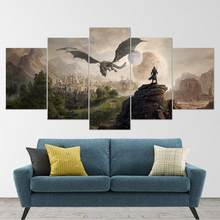 5 peça parede arte da lona jogo paisagem imagem dragão & cidade posters e cópias moderno interior para casa pinturas decorativas