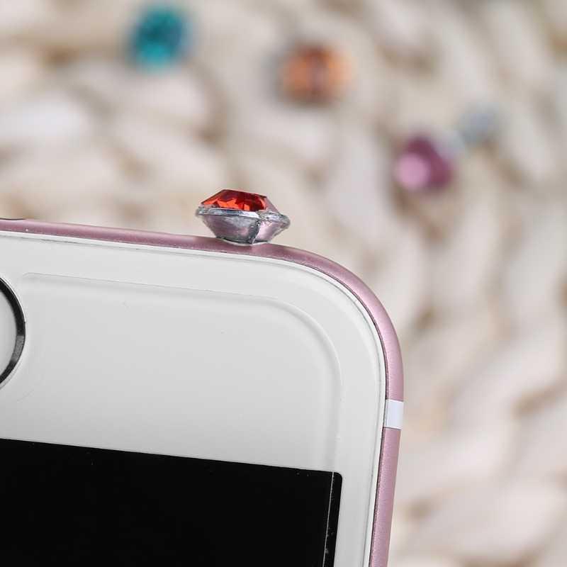 Diamante de imitación brillante redondo 3,5mm Anti polvo enchufe auricular tapón para teléfono inteligente