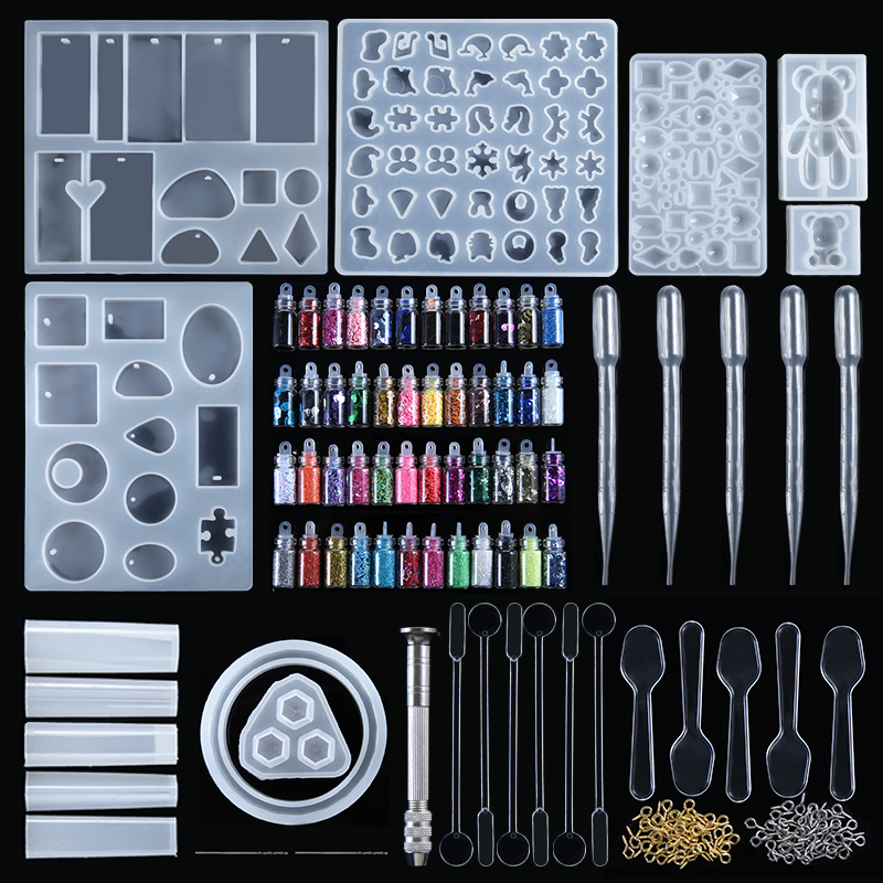 277pcs/set Silicone Resin Casting Mold Tool Kit DIY Jewelry Pendant Making Mould Geometric Epoxy Resin Combination Crafts
