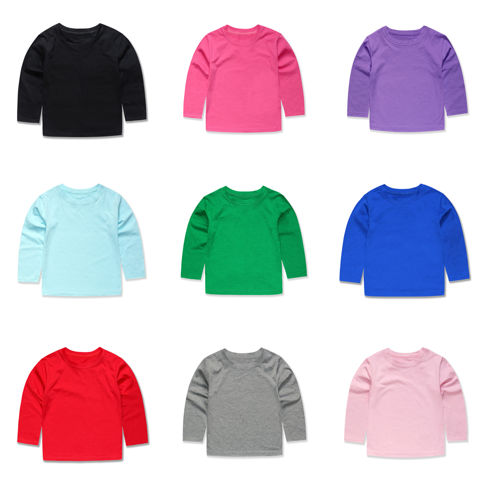 T-Shirts Girls Tops Plain Boys Full-Sleeve Kids Children Cotton Solid for Casual-Wear