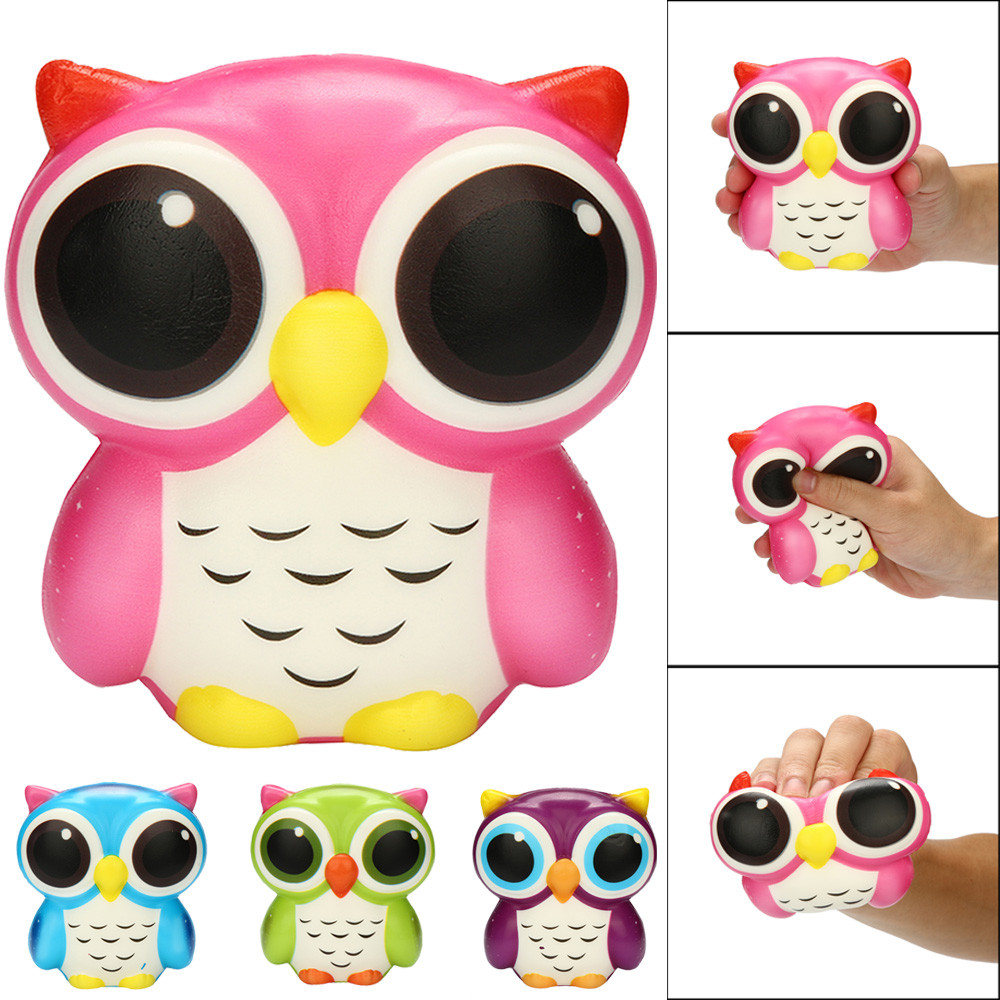 Kawaii Colorful Owl Squishy Doll Slow Rising Stress Relief Squeeze Toys For Baby Kids Xmas Gift @A