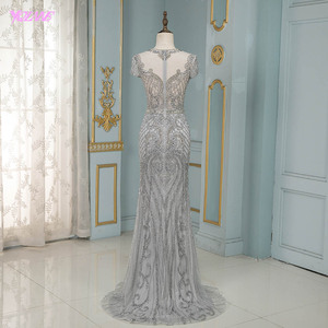 Image 2 - Luxury Silver Rhinestones Cap Sleeve Evening Dresses Long Mermaid Evening Gown Competition Formal Dress Robe De Soiree