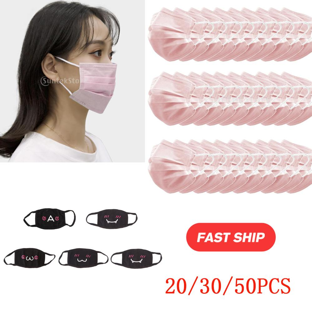 10/20/50/100pcs 3 Ply Disposable Face Pink Masks Anti Dust Prevents Protective Mask Face Masks Droplets Spreading Mouth Masks