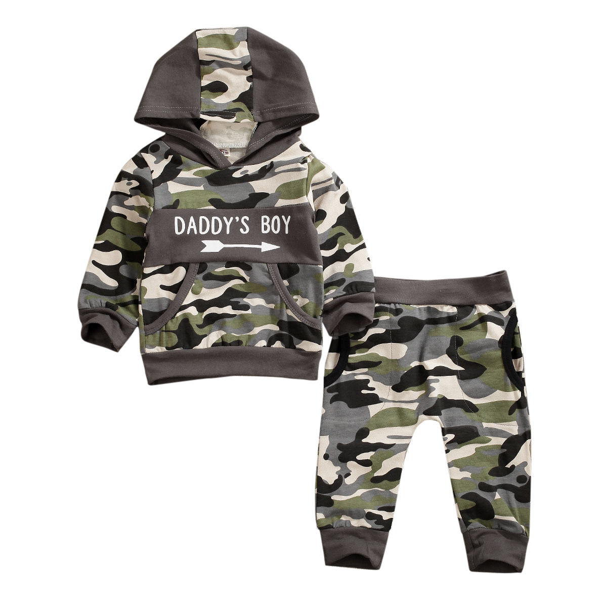 Newborn Infant Baby Boy Camo Hoodie Long Pants Outfits Clothes Set Tracksuit UK