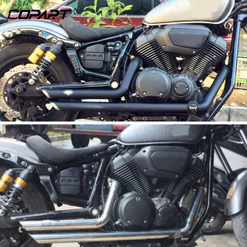 For Yamaha Star Bolt XV950 XVS950 2014 2015 2016 2017 Motorcycle Exhaust Pipe With Muffler Removable Silencer Black
