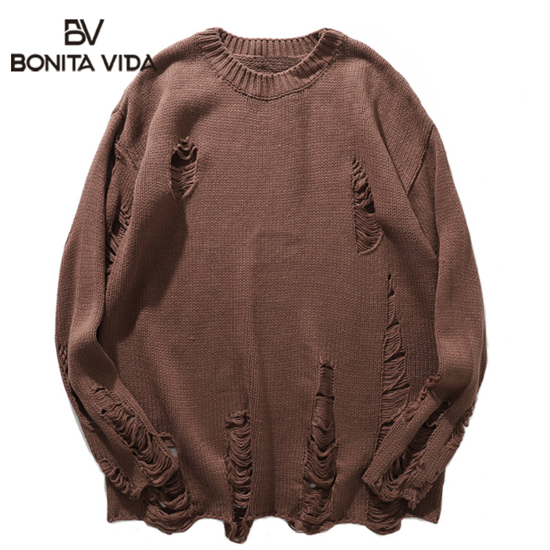 Bonita Vida Korean Style Pullover Plus Size Sweaters Men 2020 Autumn Winter Casual Hole Loose Cotton Streetwear Mens Sweater