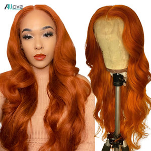Allove 30 32inch Orange Ginger Lace Front Wig Brazilian Body Wave Wig Human Hair HD Transparent Lace Frontal Wig Pre Plucked