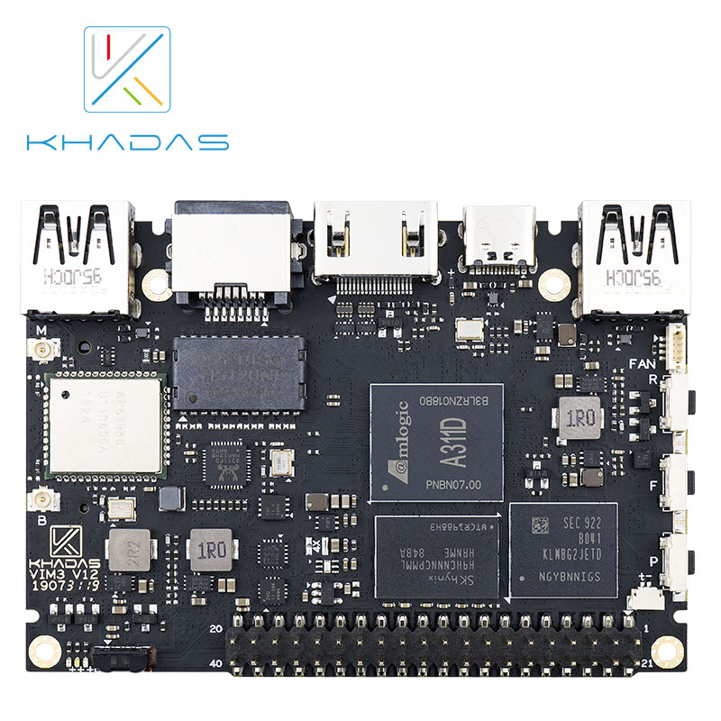 Amlogic A311D Single Board Computer With 5.0 TOPS NPU AI Tensorflow X4 Cortex-A73 X2 A53 Cores Khadas VIM3 Basic SBC