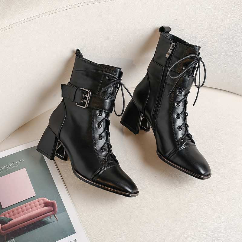 Image 4 - Krazing Pot office lady square toe genuine leather lace up belt  buckle high heels winter keep warm women black ankle boots L4f3Ankle  Boots
