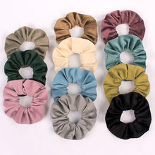 Brand Quality Women Soft Fabric Chouchou Hair Ties Solid Color Fluffy Large Scrunches Lady Winter Hairband Schrunchy For Girls