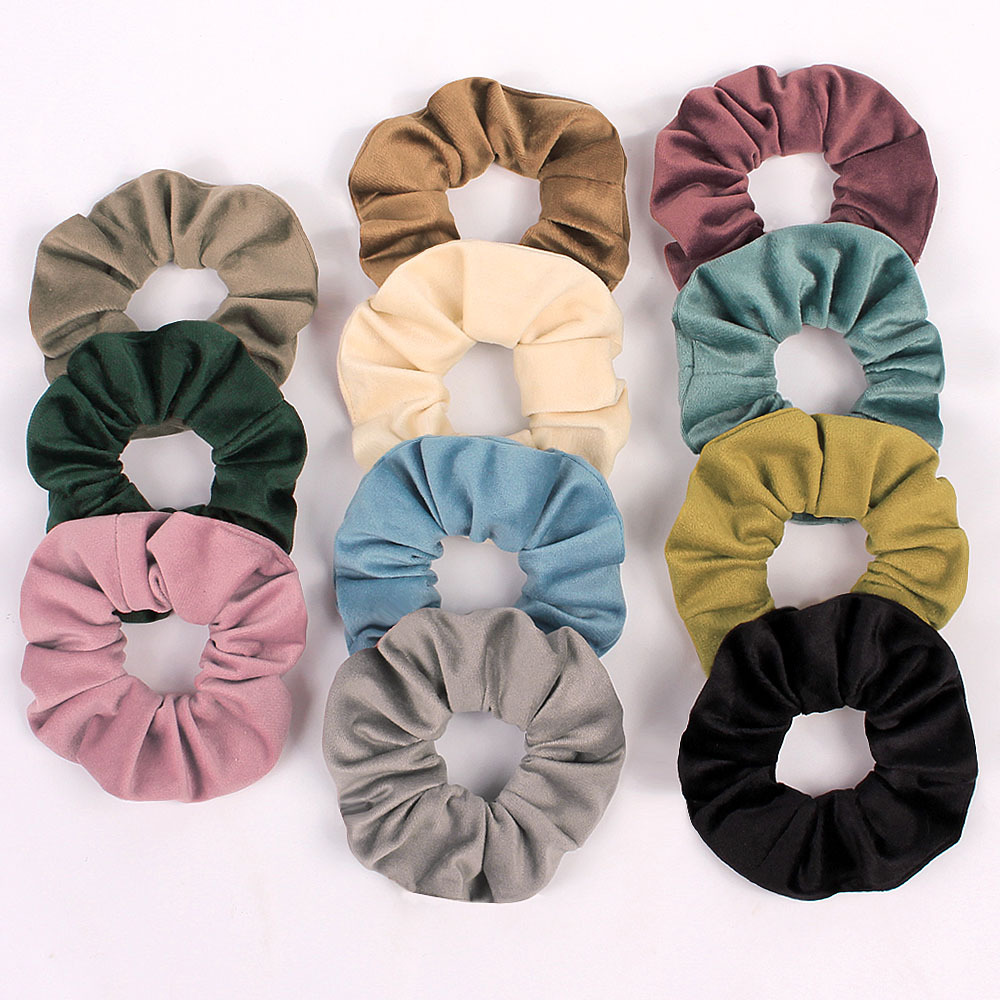 Brand Quality Women Soft Fabric Hair Ties Solid Color Fluffy Large Scrunches Lady Winter Hairband Schrunchy For Girls