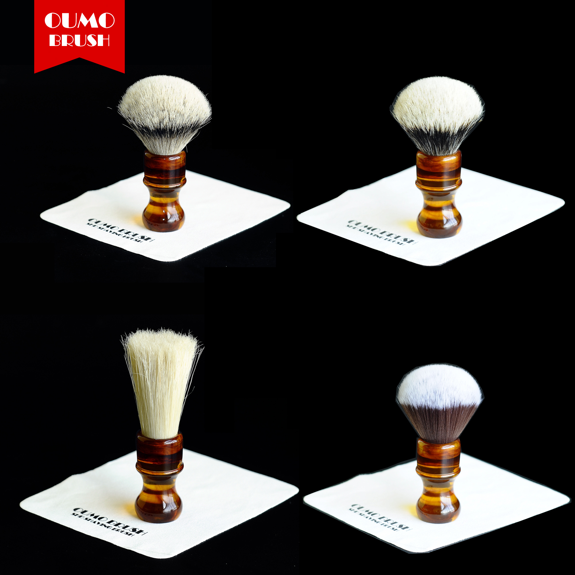 OUMO BRUSH-amber Resin Handle Shaving Brushes With Different Shaving Brush Knots