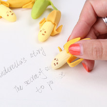 Creative Cute Banana Fruit Pencil Eraser Rubber Novelty Kids Student Learning Office Stationery 2 PCS(China)