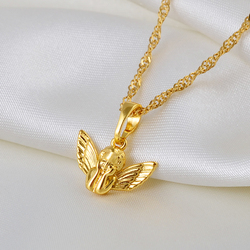 Anniyo Mini Angel Baby Pendant Necklaces for Women Girls Gold Color Small Size Charm Jewelry Religious gift #080204
