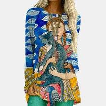 Женская футболка с длинным рукавом абстрактным принтом