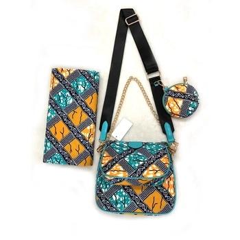 3pcs African Ankara Tote Bag set,1 Small Clutch Bag Matching Ankara fabric African print Fabric For Party DFB-6