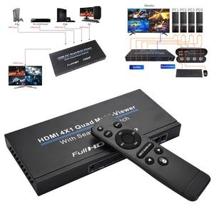 HDMI 4x1 переключатель Quad Multi Viewer сплиттер с бесшовным переключателем HD видео 1080P для ПК/STB/DVD @ M23
