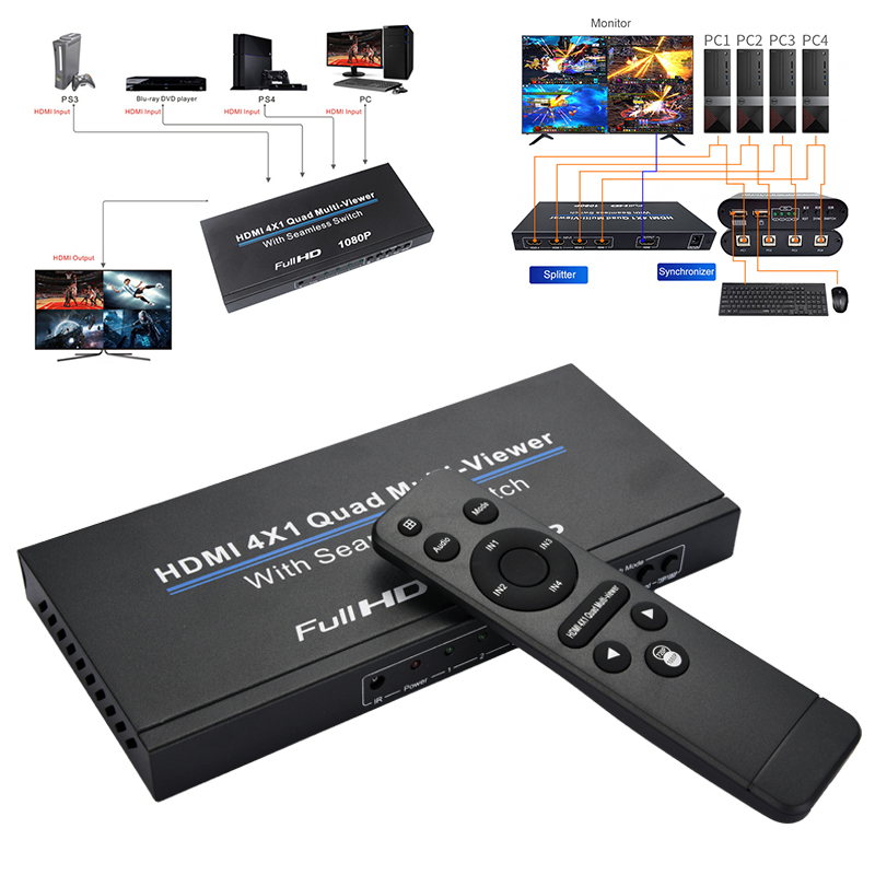 HDMI 4x1 Switch Quad Multi Viewer Splitter With Seamless Switcher HD Video 1080P For PC/STB/DVD @M23