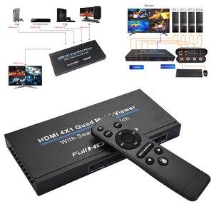 Przełącznik HDMI 4x1 rozdzielacz Quad Multi Viewer z jednolity przełącznik wideo HD 1080P na PC/STB/DVD @ M23