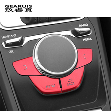 Car Styling For Audi Q2 Q2L Gears Shift Panel Covers multimedia BLCk MENU buttons decoration Stickers Interior auto Accessories