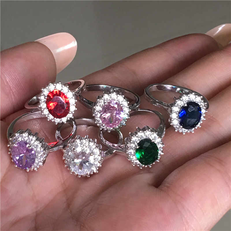 Princess Diana ring Real 925 Sterling silver Birthstones Cz Stone Engagement wedding band rings for women Bridal Party Jewelry
