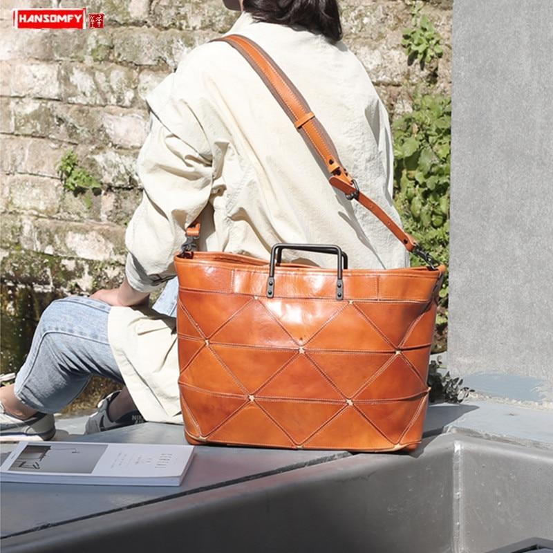 Business Leather Computer Briefcase Women Handbag Large Capacity 14 Inch Laptop Bag Female Cowhide Stitching Distressed Handbag