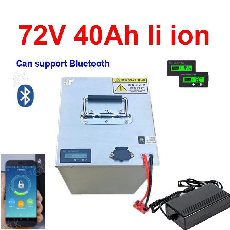 Batería de iones de litio GTK li ion 72v 40Ah con aplicación bluetooth BMS para motocicleta scooter 3500w + cargador 5A