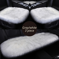 AUTOYOUTH Full Set Car Seat Cushions Car Seat Covers Winter Plush For Car Office Chair Front Pad Warm For Winter Gray Black