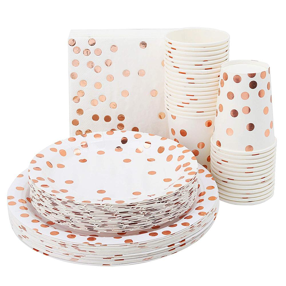 Rose Gold Paper Party Supplies Birthday Party Decorations Kids Disposable Paper Plates Set For Baby Shower Party Favor