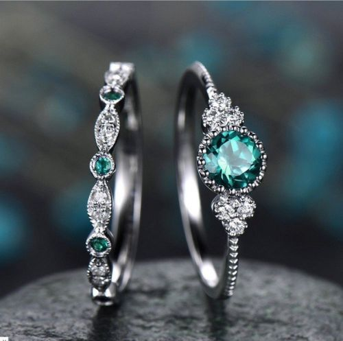 3 Colors Stackable Double Rings Sets For Women 925 Silver Round Green Blue Zircon Stone Engagement