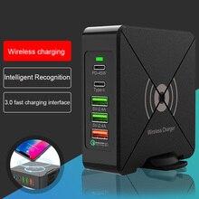 75w pd tipo c 3 usb carregador inteligente rápido 100 240v 45w indutivo carregamento adaptador de energia do portátil para iphone