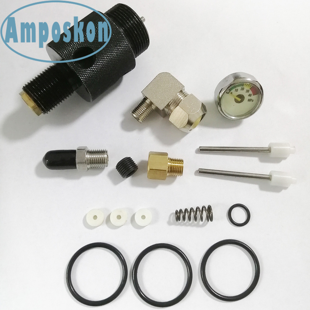 1 Set New Hot High Quality Black Aluminum Valve PCP 3000PSI Valve Threaded Tank M18 With Spare Parts Outdoor Accessories Pump