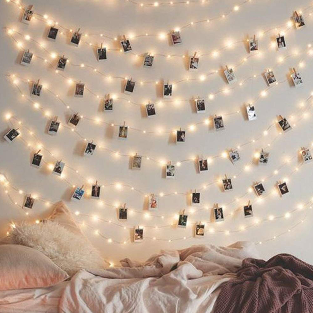 Image result for 2M/5M/10M Photo Clip USB LED String Lights Fairy Lights Outdoor Battery Operated Garland Christmas Decoration Party Wedding Xmas