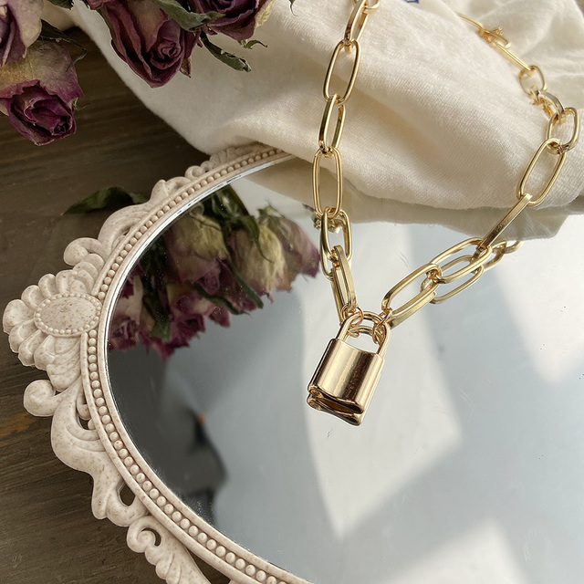 beautiful chain link and lock necklace in silver or gold 4