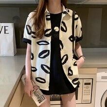2020 Summer New Fashion Women Blouse Shirt Casual Short Sleeve Black Lapel Blouse Tops Office Lady Elegant Shirts Female Blusa