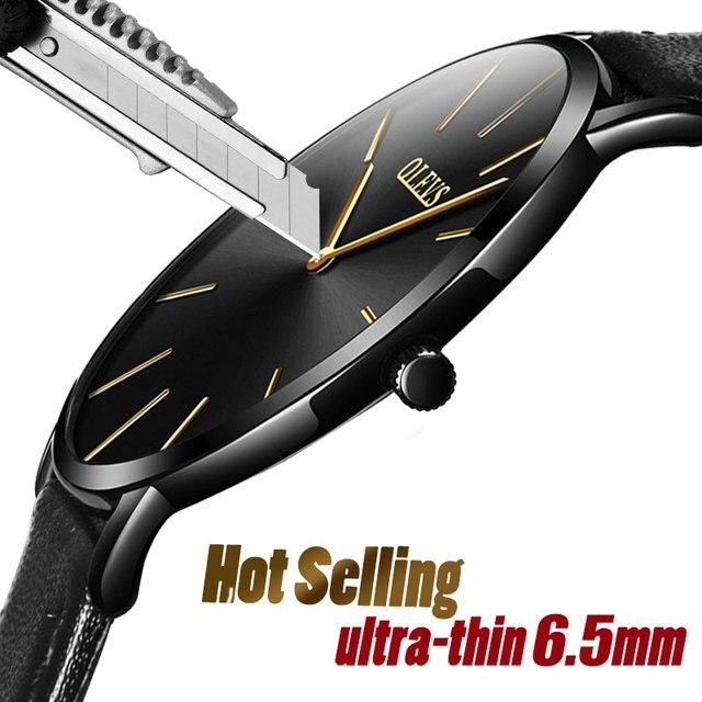 남성 울트라 씬 쿼츠 시계 OLEVS 탑 브랜드 럭셔리 손목 시계 캐주얼 비즈니스 가죽 시계 로즈 방수 남자 시계 Reloj