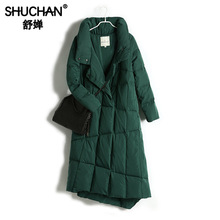 Shuchan Turtleneck Women Down Coats Jackets Warm Woman Down Parka 90% White Duck Down Thick Warm Covered Button Long Jacket spring autumn kids duck down coats girls warm down jackets outlet cheap brand long sleeve waterproof wax jacket parka for girl