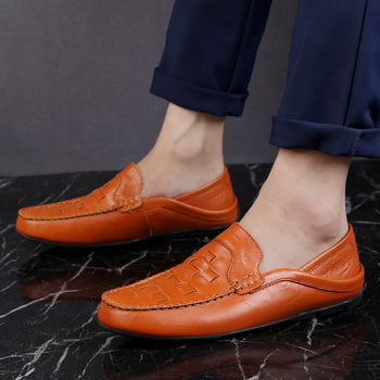 Casual Shoes Men Shoes Genuine Leather Luxury Brand Casual Slip On Formal Loafers Men Moccasins Italian Male Driving Shoes 2020