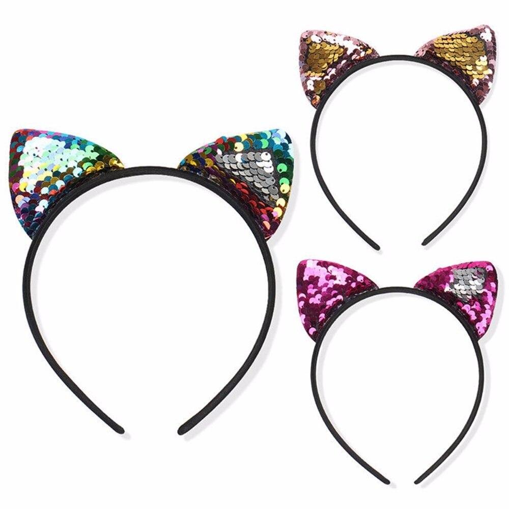 SEQUIN CAT HEADBAND Reversible Hair Hoop Girls Hairband Birthday Party Gift