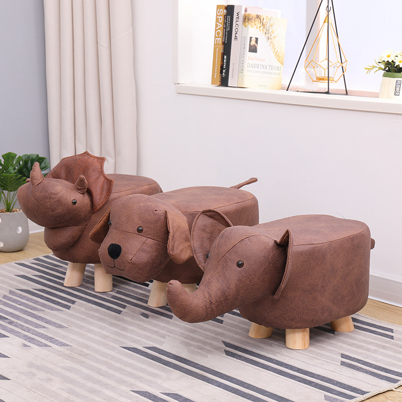 Kids Stool Children Cartoon Animal Stool Home Solid Wood Small Bench Baby Sofa Stool Footstool Elephant Dinosaur Kids Chair
