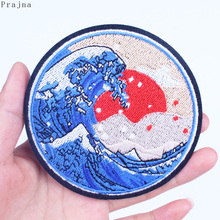 Prajna Picture Patch Badges Hippie Stickers Wave Iron On Embroidered Patches Stripes For Clothes Applique Van Gogh