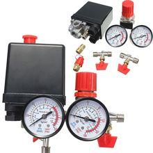 Régulateur de pression de pompe de compresseur dair résistant du régulateur 240V ca commutateur de contrôle de pression Valve180PSI de pompe à Air de 4 ports avec la jauge