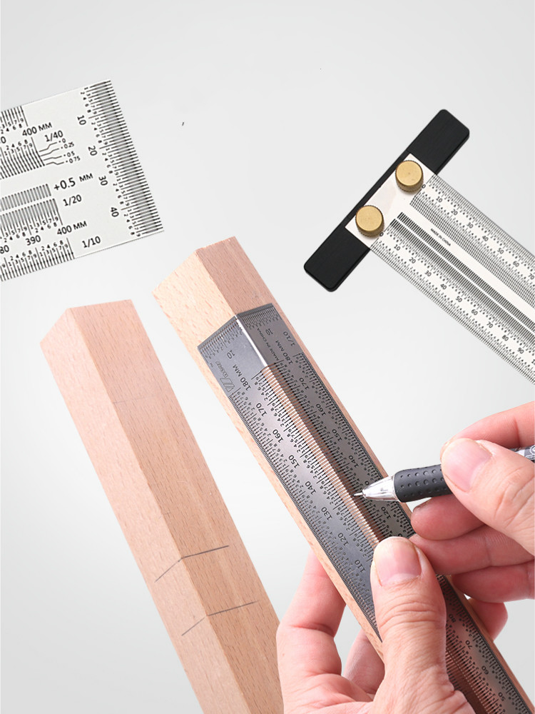 Ruler T-Type Gauge Scale Carpenter-Measuring-Tool Mark-Line High-Precision Stainless-Woodworking