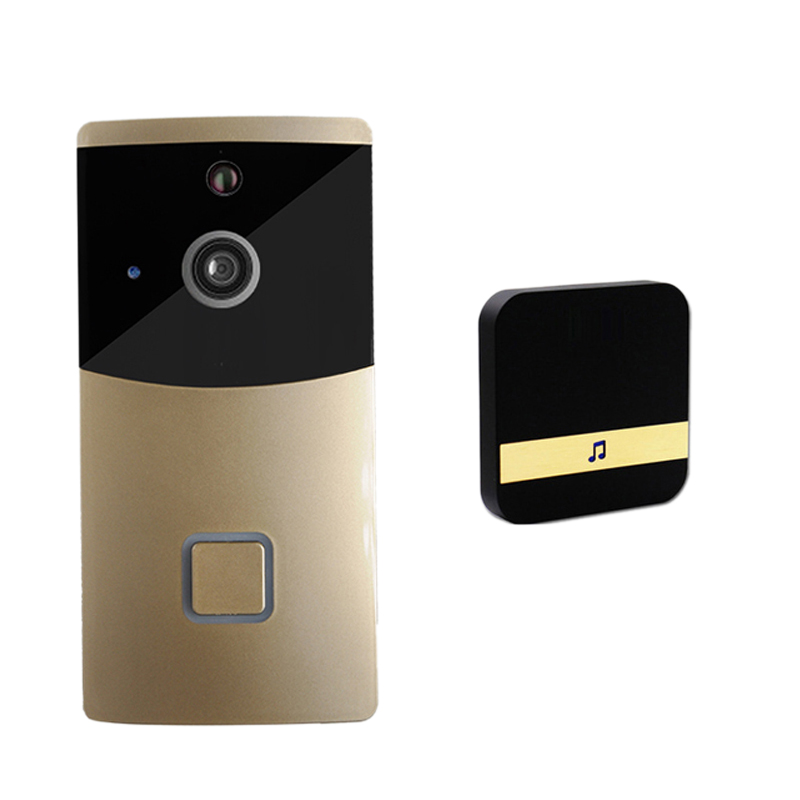 Wireless Wifi Security Waterproof Doorbell Smart Video Door Phone Visual Recording With Plug-In Chime Remote Home Monitoring(Eu