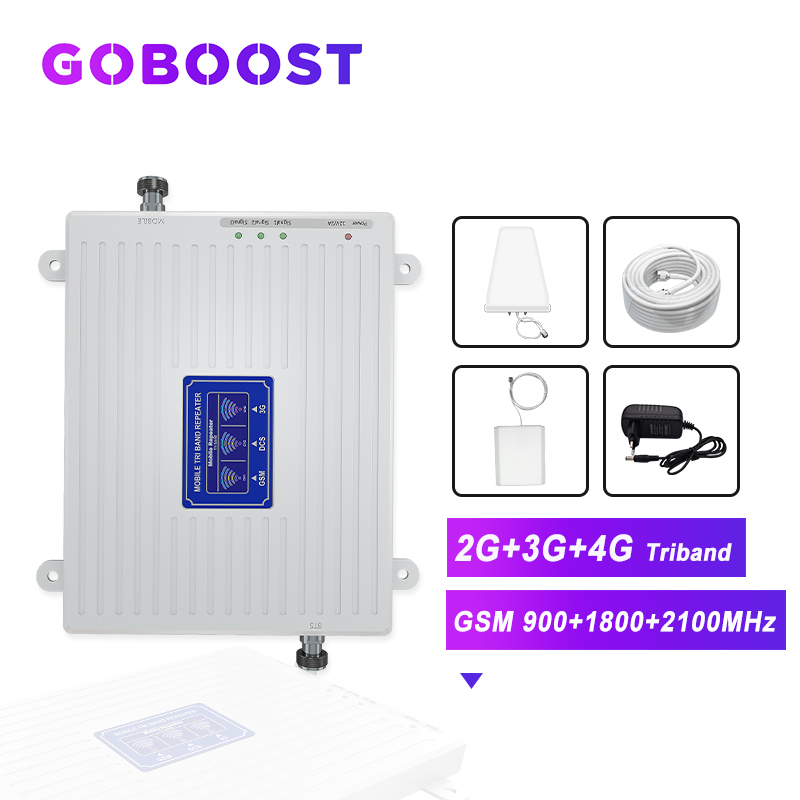 GOBOOST Cellular Amplifier 2G 3G 4G GSM 900 1800 2100 4G DCS LTE Cellular Signal Booster Cell Phones Amplifier 4G Antenna Kit -