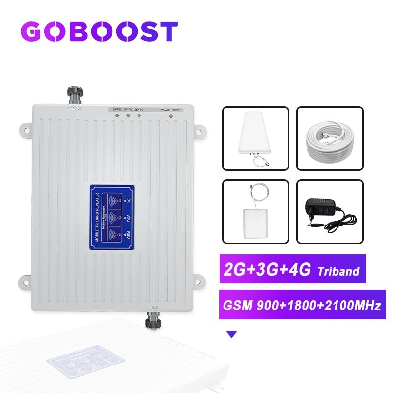 GOBOOST Cellular Amplifier 2G 3G 4G GSM 900 1800 2100 4G DCS LTE Cellular Signal Booster Cell Phones Amplifier 4G Antenna Kit -