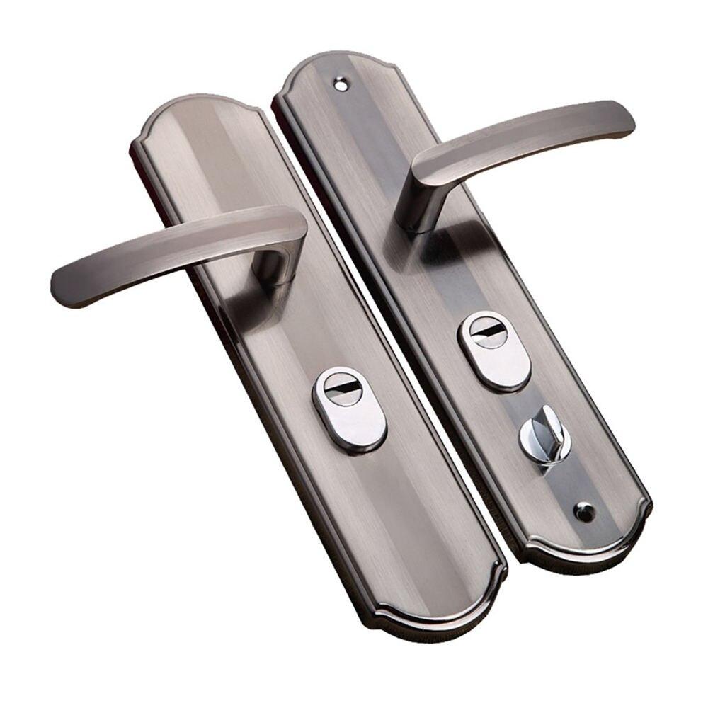 1 Pair Aluminum Silent Security Door Handle Anti-theft Door Lock Security Safe Furniture Indoor Door Handle Lockset