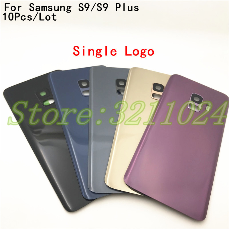 10Pcs <font><b>Back</b></font> Battery Cover For Samsung Galaxy S9 <font><b>G960</b></font> SM-G960F S9 Plus s9+ G965 SM-G965F <font><b>Back</b></font> Rear Glass Case With Camera Lens image