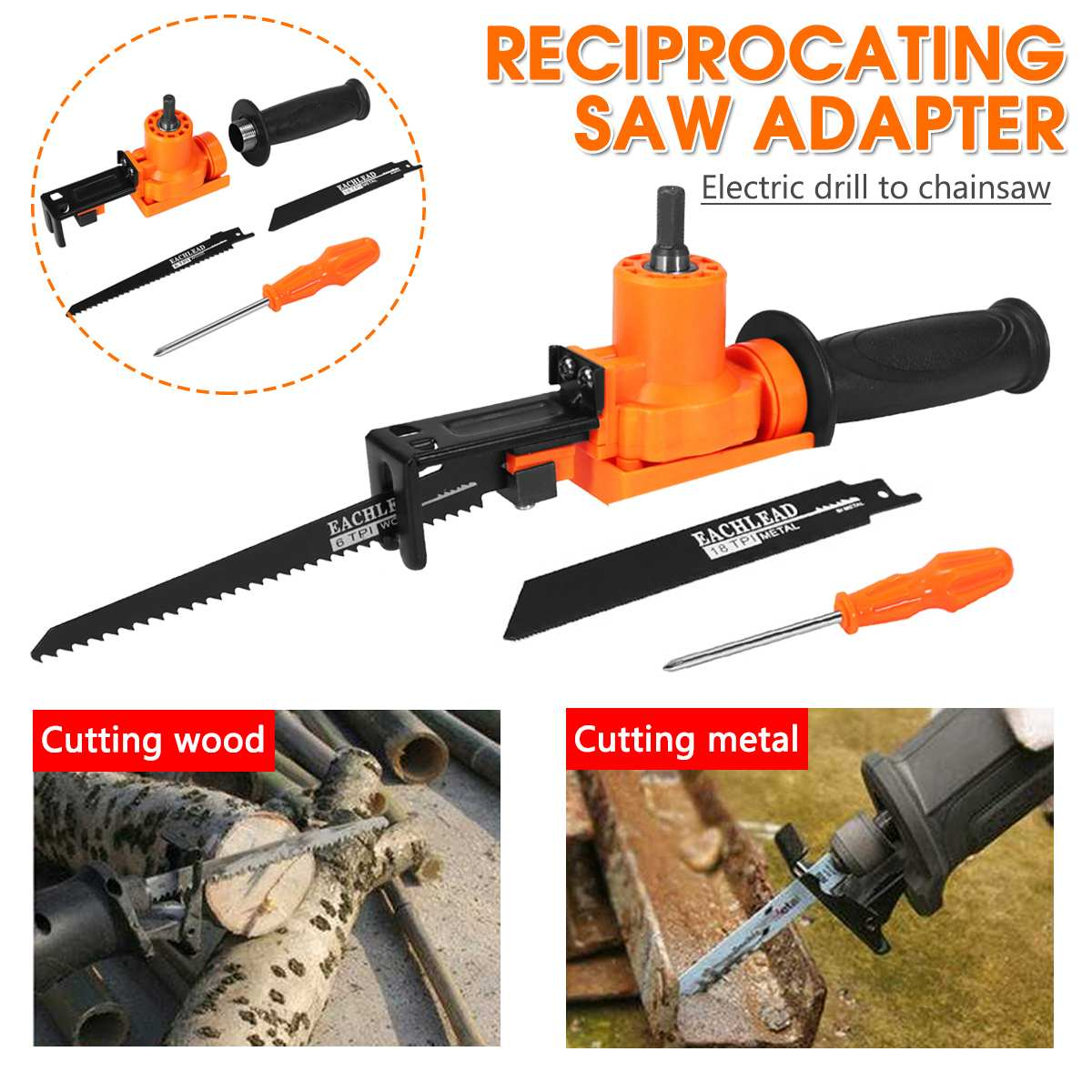 Becornce Reciprocating Saw Adapter Electric Drill Modified Electric Saw Hand Tool Wood Metal Cutter Long Service Life Durability